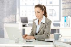 Ελκυστική γυναίκα που εργάζεται στο lap-top στην αρχή Στοκ εικόνα με δικαίωμα ελεύθερης χρήσης