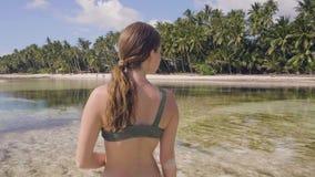 Ελκυστική γυναίκα στο μπικίνι που περπατά στο κρύσταλλο - σαφές θαλάσσιο νερό στην παραλία παραδείσου Ευτυχής γυναίκα που απολαμβ φιλμ μικρού μήκους