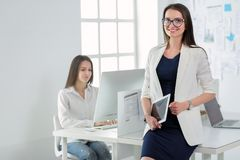 Ελκυστική επιχειρησιακή γυναίκα που εργάζεται στο lap-top στο γραφείο διάνυσμα ανθρώπων επιχειρησιακής απεικόνισης jpg Στοκ Φωτογραφίες