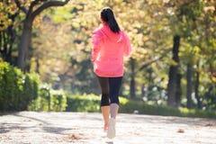 Ελκυστική και ευτυχής γυναίκα δρομέων sportswear φθινοπώρου που τρέχει το α Στοκ Φωτογραφίες