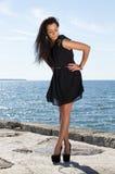 Ελκυστική νέα γυναίκα στην αποβάθρα Στοκ φωτογραφίες με δικαίωμα ελεύθερης χρήσης