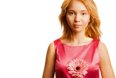 Ελκυστική ξανθή γυναίκα που κρατά ένα λουλούδι στοκ φωτογραφίες
