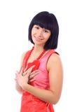 ελκυστική χαμογελώντας γυναίκα καρδιών στοκ φωτογραφία