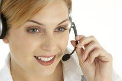 Ελκυστικός αντιπρόσωπος εξυπηρετήσεων πελατών στοκ φωτογραφία με δικαίωμα ελεύθερης χρήσης
