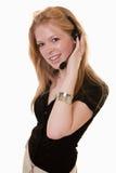 Ελκυστικός καυκάσιος εργαζόμενος τηλεπικοινωνιών Στοκ εικόνες με δικαίωμα ελεύθερης χρήσης