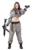 ελκυστικός στρατιώτης κοριτσιών Στοκ Εικόνες