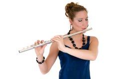 ελκυστικός flautist στοκ φωτογραφία