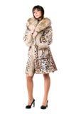ελκυστικό γυναικείο leopard παλτών στοκ φωτογραφία