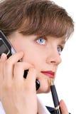 ελκυστικό κινητό τηλέφων&omicr Στοκ εικόνα με δικαίωμα ελεύθερης χρήσης