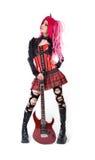 Ελκυστικό κορίτσι με την ηλεκτρο κιθάρα Στοκ εικόνα με δικαίωμα ελεύθερης χρήσης