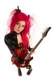 Ελκυστικό κορίτσι με την κιθάρα Στοκ Εικόνες