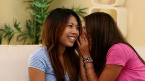 Ελκυστικό κορίτσι που λέει κάτι στο αυτί αδελφών απόθεμα βίντεο