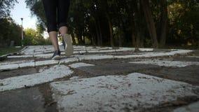 Ελκυστικό μεμβρανοειδές κορίτσι με τους τονισμένους μυς ποδιών που σε ένα άσπρο πάρκο αλεών επάνω τα σκαλοπάτια σε σε αργή κίνηση απόθεμα βίντεο