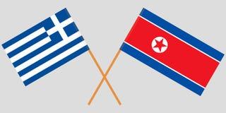 Ελλάδα και Βόρεια Κορέα Διασχισμένες ελληνικές και κορεατικές σημαίες Επίσημα χρώματα Σωστή αναλογία διάνυσμα στοκ φωτογραφίες με δικαίωμα ελεύθερης χρήσης