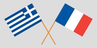 Ελλάδα και Γαλλία Διασχισμένες ελληνικές και γαλλικές σημαίες Επίσημα χρώματα Σωστή αναλογία διάνυσμα στοκ φωτογραφία με δικαίωμα ελεύθερης χρήσης
