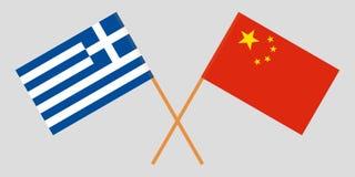 Ελλάδα και Κίνα Διασχισμένες ελληνικές και κινεζικές σημαίες Επίσημα χρώματα Σωστή αναλογία διάνυσμα στοκ φωτογραφία με δικαίωμα ελεύθερης χρήσης