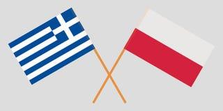 Ελλάδα και Πολωνία Διασχισμένες πολωνικές και ελληνικές σημαίες Επίσημα χρώματα Σωστή αναλογία διάνυσμα στοκ φωτογραφίες με δικαίωμα ελεύθερης χρήσης