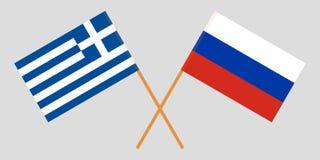 Ελλάδα και Ρωσία Διασχισμένες ελληνικές και ρωσικές σημαίες Επίσημα χρώματα Σωστή αναλογία διάνυσμα στοκ εικόνες με δικαίωμα ελεύθερης χρήσης