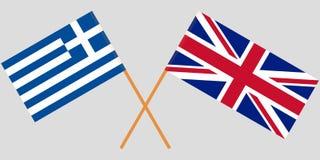 Ελλάδα και UK Διασχισμένες ελληνικές και Ηνωμένες σημαίες Επίσημα χρώματα Σωστή αναλογία διάνυσμα στοκ εικόνες