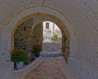Ελληνικά δοχεία νησιών, πορτών και λουλουδιών κάτω από μια εκλεκτής ποιότητας αψίδα στοκ εικόνα