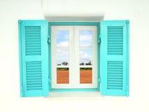 Ελληνικά Windows ύφους με τη χώρα φύσης Στοκ Εικόνες