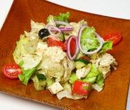 Ελληνικές ντομάτες σαλάτας, αγγούρια, μίγμα σαλάτας, τυρί Fitaki, κρεμμύδι, μαύρες ελιές, ελληνική σάλτσα Στοκ Εικόνες