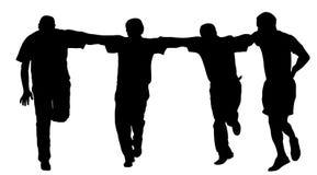 Ελληνική διανυσματική σκιαγραφία ομάδας Evzone χορεύοντας που απομονώνεται στο άσπρο υπόβαθρο χορός παραδοσιακός Στοκ εικόνα με δικαίωμα ελεύθερης χρήσης