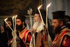 Ελληνική ορθόδοξη μάζα στην εκκλησία του ιερού τάφου Στοκ Εικόνες