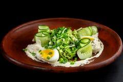 ελληνική σαλάτα Με το αυγό, τα αγγούρια και τη μαγιονέζα στοκ φωτογραφίες