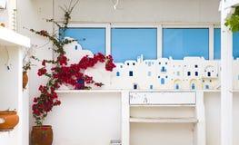 Ελληνική σύνθεση ύφους των λουλουδιών και του εξωτερικού οικοδόμησης Στοκ εικόνες με δικαίωμα ελεύθερης χρήσης