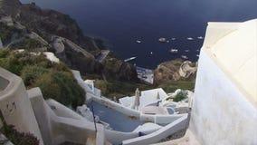 Ελληνική υδρονέφωση νησιών Santorini που έρχεται στον πυροβολισμό βράσης απόθεμα βίντεο