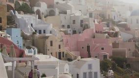 Ελληνική υδρονέφωση νησιών Santorini που μπαίνει απόθεμα βίντεο