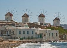 ελληνικοί ανεμόμυλοι mykanos Στοκ Εικόνα