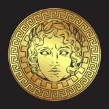 Ελληνικός και ρωμαϊκός Θεός απόλλωνας Συρμένο χέρι παλαιό λογότυπο ύφους ή διανυσματική απεικόνιση τέχνης σχεδίου τυπωμένων υλών διανυσματική απεικόνιση