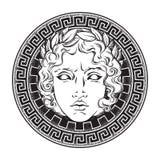 Ελληνικός και ρωμαϊκός Θεός απόλλωνας Συρμένο χέρι παλαιό λογότυπο ύφους ή διανυσματική απεικόνιση τέχνης σχεδίου τυπωμένων υλών απεικόνιση αποθεμάτων