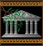 ελληνικός ναός ελιών κλάδ Στοκ Εικόνα
