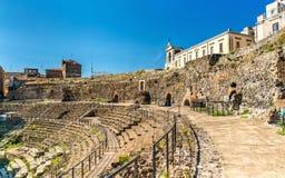 Ελληνικός-ρωμαϊκό θέατρο της Κατάνια σε Sicilia, Ιταλία Στοκ εικόνες με δικαίωμα ελεύθερης χρήσης