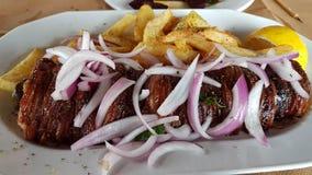 Ελληνικό πιάτο tranditional κρέατος kokoretsi στοκ εικόνες