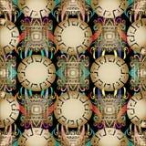 Ελληνικό σύγχρονο τρισδιάστατο γεωμετρικό άνευ ραφής σχέδιο Η διανυσματική ζωηρόχρωμη Flor Στοκ φωτογραφία με δικαίωμα ελεύθερης χρήσης