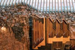 Ελσίνκι, Φινλανδία Στενή άποψη του οργάνου σωλήνων στη λουθηρανική εκκλησία Temppeliaukio επίσης γνωστή ως εκκλησία του βράχου κα Στοκ Εικόνα