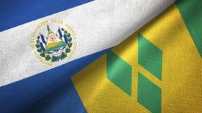 Ελ Σαλβαδόρ και Άγιος Βικέντιος και Γρεναδίνες δύο υφαντικό ύφασμα σημαιών διανυσματική απεικόνιση