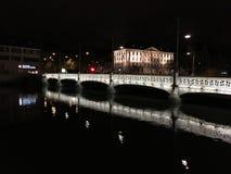 δεμένη όψη σκαφών λιμένων νύχτας Στοκ φωτογραφία με δικαίωμα ελεύθερης χρήσης