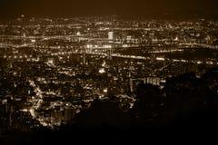 δεμένη όψη σκαφών λιμένων νύχτας Στοκ εικόνα με δικαίωμα ελεύθερης χρήσης