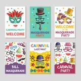 Εμβλήματα ή κάρτες που τίθενται με τις απεικονίσεις των αστείων εργαλείων για τη μεταμφίεση Πρότυπο σχεδίου με τη θέση για το κεί απεικόνιση αποθεμάτων