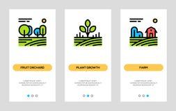 Εμβλήματα γεωργίας και καλλιέργειας Ο οπωρώνας φρούτων, αύξηση εγκαταστάσεων, καλλιεργεί τις κάθετες κάρτες Διανυσματική έννοια γ απεικόνιση αποθεμάτων