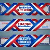 Εμβλήματα για τη γαλλική εθνική εορτή ελεύθερη απεικόνιση δικαιώματος