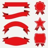 Εμβλήματα και κορδέλλες, ετικέτες καθορισμένες Κόκκινες αυτοκόλλητες ετικέττες στο άσπρο υπόβαθρο Στοκ Εικόνες