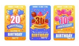 Εμβλήματα καρτών επετείου γενεθλίων Στοκ Εικόνα