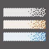 Εμβλήματα με μπλε καφετής εξαγωνικός και κυκλικός Στοκ φωτογραφία με δικαίωμα ελεύθερης χρήσης