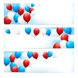 Εμβλήματα με τα κόκκινα, άσπρα & μπλε μπαλόνια Στοκ Εικόνες